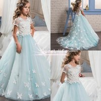 Wholesale Pretty Ball Gown Prom Dresses - Pretty Lace Little Bride 2017 Flower Girl Dresses Short Sleeves With Cute Butterfly Sweep Train Kids Pageant Prom Party Communion GownS
