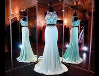 ingrosso regina indietro-Elegante 2019 Due pezzi Crystal Mint verde Prom Dresses con Sheer Back Party Queen Abiti Abiti da sera Abiti per Pageant Dressal Dress