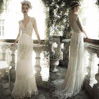 Wholesale Simple Flower Sash - Wedding dresses bridal gowns 2016 Vintage bohemian beach A-Line modest wedding dresses with sleeves Lace Deep V Neck Chiffon beading sash