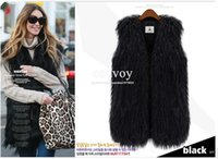 Wholesale Womens Black Winter Vests - Fashion Womens Faux Fur Vest Vintage Trend Celeb Luxury Winter Faux wool Fur Long Waistcoat Vest Coats Wrap sleeveless Jacket Coat WT06