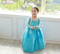 Wholesale Diamond Long Dresses - in stock snow queen elsa dress girl princess dress summer long elsa costume kids long sleeve diamond dress Elsa Costume dress hot sale