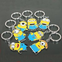 Wholesale Cross Round Pendants - Free Shipping Movie Cartoon Despicable Me Key Chain Ring Holder Cute Small Minions Figure Keychain Keyring Pendant 2015 Xmas Gifts