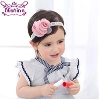 Wholesale Cute Little Girl Rose - Nishine Pink Soft Satin Rose Little Girls Headband Kids Blush Fabric Burned Flower Headbands Newborn Photo Prop Cute Gift