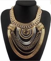 abendkleid halskette großhandel-Mode Boho Stil Übertrieben Multilevel Kette Erklärung Halsketten Frauen Abendkleid Schmuck Halsband Kostenloser Versand CE1284