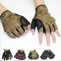 Wholesale Sport Paintball - Mechanix Wear M-Pact motorcycle gym tactical fitness gloves cycling paintball outdoor airsoft sport workout fingerless luvas men