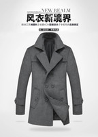 Wholesale Wool Trench Coats For Men - Wholesale- New Men Trench Coat & Overcoat  Long Double-Breasted Pea Coat For Men Plus Size M-4XL Cheapest Price On Sale