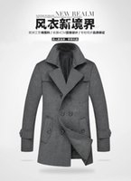 Wholesale New Men Trench Coat Overcoat Long Double Breasted Pea Coat For Men Plus Size M XL Cheapest Price On Sale