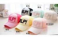 Wholesale Wide Brim Baseball Cap - Wholesale-Fashion HELP visor cap girls summer hat candy color baseball cap adjustable!