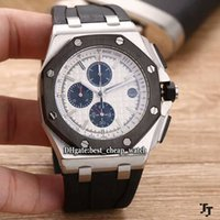 Super Clone Luxury Brand Royal PVD 26400SO.OO.A002CA.01 White Dial Quartz Chronograph Mens Watch Prata Case Rubber Strap Cheap New Watches