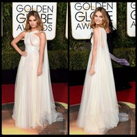 Warme Chiffon Marchesa Promi Abendkleider Lily James Roter Teppich Golden Global Awards Prom Kleider Weiß Backless Formale Party Kleider