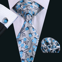 Wholesale Mens Necktie Pattern - Tie for Men Hankerchief Cufflinks Set Blue Floral Pattern Mens Jacquard Woven Business Necktie 8.5cm Width Casual Set N-0999