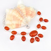 Wholesale Unique Amber - 5 Pieces Holiday Gift Unique Fire Oval Shaped Amber 925 Sterling Silver Chain Necklace Russia American Australia Wedding Party Necklaces