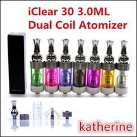 iClear 30 Atomizer IC30 Tank Reposável Dual Coil Clearomizer Cartomizer para E Cigarette Vision 2 Twist eGo-T Battery Diversos Color Instock