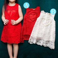 Wholesale Love Lace Dress - lace and pearl dresses for baby love heart dress for girls sweet lace vest dress princess sleeveless dress children free shipping in stock