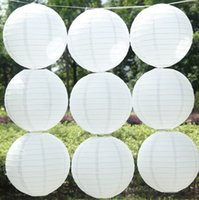 Wholesale Sky Lanterns For Wedding Decorations - 12''(30cm) White Round Chinese Paper Lanterns For Wedding Party Decorations Halloween Paper Lantern Battery Operated Paper Langt