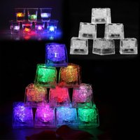 Wholesale Led Cube Lights Decorations - Flash Ice Cube LED Color Luminous in Water nightlight Party wedding Christmas decoration Supply Water activitated Led light up Ice Cubes