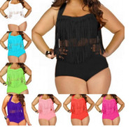 franja monokini mais maiô de tamanho venda por atacado-Plus Size Swimwear Para As Mulheres Franja Borlas Biquíni Cintura Alta Swimsuit Sexy Mulheres Maiô Acolchoado Boho Swimsuit Monokini