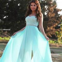 minze grünes schatzkleid großhandel-Mintgrün Abendkleider mit seitlichem Slite Sexy Party Kleider 2016 Schatz Abendkleid Bodenlangen Arabisch Kleid Vestido De Fiesta