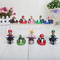 "Wholesale Mario Bros Resins - Free Shipping Cute 10pcs set Super Mario Bros Kart Pull Back Car 2"" figure Toy New Retail"