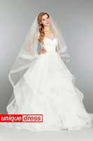 Wholesale Simple Dresses Veil - Simple Design 2015 Ball Gown Wedding Dresses Sweetheart Court Train Organza Tiers With Wedding Veil Under 150