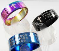 Wholesale English Cross Rings - Wholesale-50pcs English Serenity Prayer Jesus Cross Stainless Steel Rings Wholesale Fashion Religious Jewelry Lots