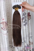 "Wholesale Human Hair Italian Keratin - 18-22"" 100 Strands Silky Straight Pre Bonded U Nail Tip Italian Keratin Fusion Indian Remy Human Hair Extensions 0.5g s #4 Dark Brown"