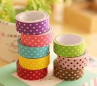 Wholesale Scrapbooking Dots - 5 pcs lot 8 colors DIY Cute Cartoon w*s*i tape Sticker Paper Dots for Scrapbooking Decoration Stationery Free shipping