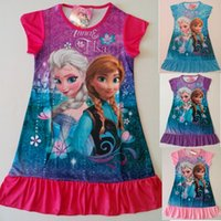 Wholesale Girls Sleepwear Hot - 2014 Hot Sale summer girls dresses Princess patterns children nightdress Cartoon 100% Cotton kids pajamas dress sleepwear A001
