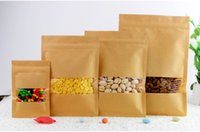 Wholesale Visual Paper - Free Shipping Resealable Brown Kraft Paper Self-Sealing Food Packaging Bags With Visual Rectangle Window For Gifts Packaging Bags