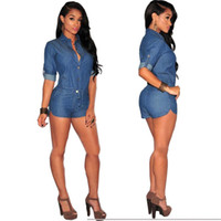 Wholesale Denim Long Sleeve Jumpsuit - Wholesale-Macacao feminino 2015 Sexy rompers womens jumpsuit V-Neck Club short Jumpsuits Denim long Sleeve Romper Bodycon bodysuit XXL