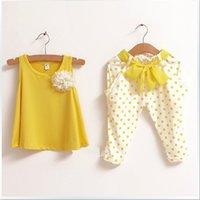 kızlar için renkli pantolon toptan satış-Yeni Kızların Eğlence Iki parçalı Takım Elbise Kolsuz Gömlek + Dalga noktası Baskılı Pantolon Eğlence takım elbise 3 renk B001