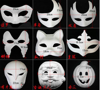 Wholesale Half Mask Butterfly - 200pcs DIY Mask Hand Painted Halloween White Face Mask Zorro Crown Butterfly Blank Paper Mask Masquerade Party Cosplay Masks By Free DHL