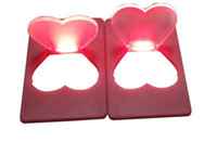 Wholesale mini heart toy - heart Purse Wallet Mini Portable Love Pocket LED Card Light Lamp Put In Wallet Light Lamp for kids led toys gifts