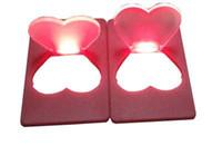 Wholesale Love Pocket Card - heart Purse Wallet Mini Portable Love Pocket LED Card Light Lamp Put In Wallet Light Lamp for kids led toys gifts