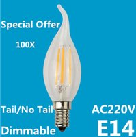 Offerta speciale Edison E14 LED Filament Light Bulb 2W 4W bianco caldo Dimmable COB Lampade a filamento Clear Glass AC 220V 360 gradi