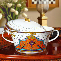 Wholesale Continental Porcelain - Wholesale-[ Vatican Kasha ] grade 56 bone china tableware suits Continental porcelain bowl ceramic dishes and creative dishes shipping