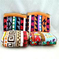 Wholesale Tartan Purse Wholesale - New Women & Kids Canvas Retro Aztec Printed Mini Coin Money Key Bag Casual Purse Wallet 12Pcs Lot Free Shipping