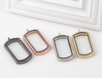 Wholesale Heart Locket Photo - Square Photo Frame Magnetic Glass Memory Floating Charms Living Locket Fine Stainless Steel Jewelry Different Colors Free Shipping