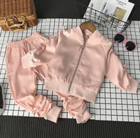 Wholesale Girls Blue Trousers - SexeMara Autumn Children suits 2017 new bow knot girls zipper jacket with casual trousers piece fitted for free shipping
