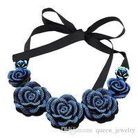Wholesale Bib Earrings - Wholesale-2015 New Fashion Jewelry Big Resin Crystal Blue Flower Necklaces Earring & Pendants Statement Bib Chunky Choker Necklaces