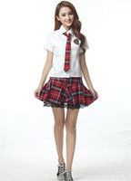 Wholesale Uniform Dresses Women - 2015 3pcs set Sexy British short-sleeved plaid school stundent uniforms skirts dress miniskirt women cosplay costume 190020