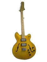 jazz guitarra hueco cuerpo f agujeros al por mayor-Nueva guitarra eléctrica hueca personalizada de cuerpo hueco en color amarillo con guitarra eléctrica con orificio F