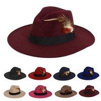 Wholesale Red Sombrero - Wholesale-FLOWERLI 2015 New Unisex Vintage Blower Jazz Felt Hats Men Trilby Cap Fedora England Style Woolen Hats Felt Sombreros