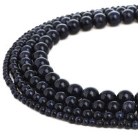 YOUS Natural Blue Sand Goldstone Gemstone Round Loose Beads for Jewelry Making 1 Strand