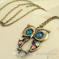Wholesale Wholesale Diamond Chains For Sale - freeshipping hot sale The retro gem sweater chain Color Diamonds hollow carved owl necklace lanyards for women