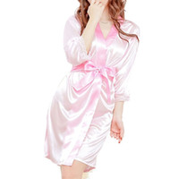 Wholesale Sexy Lady Underwear Costume - 20151205 1pcs Ladies Open Front Women Sexy Lingerie hot Set Robe Pajamas Nightgown Sleepwear sexy Costume Thong sexy Underwear Chemise