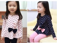 Wholesale Pink Polka Dot Bow - Baby Girls spring outfits polka dots long sleeve T-shirt with bow+pants 2pcs children sets kids suits lovely cute outfit C-5