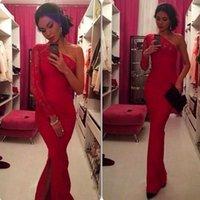 Wholesale Cheap Elegant Elie Saab Dress - Hot 2016 Sexy One Shoulder Red Evening Dress Long Sleeve Lace Side Split Mermaid Floor Length Elegant Prom Dress Elie Saab Vestidos Cheap