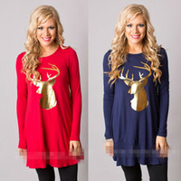 Wholesale large christmas deer - Large Size Christmas Women Tee Christmas Gold Deer Printed O-neck Long-sleeved women's Thin Casual Hoodies American Eur Style Top Clothing