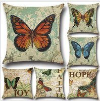 Wholesale Waterproof Throw - New Pillowcase Colorful Painting Lovely Butterfly Linen Printed Throw Pillow Case Cushion Cover Pillow Sofa Pillowcase Soft Car Office Decor